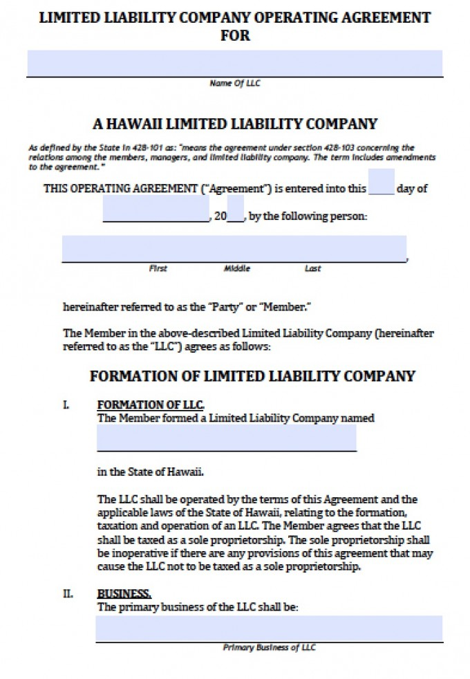Hawaii Single Member Llc Operating Agreement Free Llc Operating